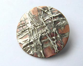 Round copper brooch with silver structure-pin-brooch-brooch