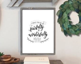 Psalm 139:14 - You are Fearfully and Wonderfully Made - Hand Lettered