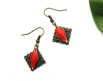 Orange earrings orange enamelled sequin and bronze ♦ print sequin earrings