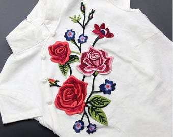 Embroidered Flower Patches Red