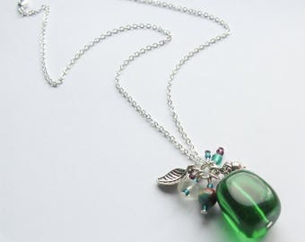 Emerald Glass Nugget Necklace