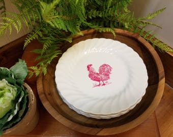Hand Crafted transferware - Farmhouse style Dessert Plate - Red Rooster