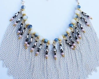 """Women necklace """"ALLURE"""" massive beautiful chain necklace gray white gold pink fashion trendy"""