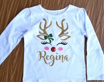 Deer Holiday shirt |  Deer girl shirt |  Deer Baby Shirt | Christmas Deer Shirt | Girls Christmas Shirt | Holiday Shirt |