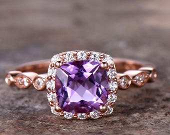 1.3ct Amethyst Engagement ring,rose gold or white gold plated,925 sterling silver thin band,topaz,aquamarine,morganite,garnet promise rings