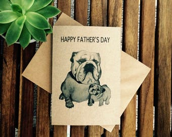 British bulldog Father's Day card