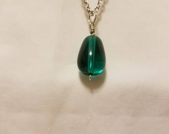 Tear-drop Green Glass Necklace w/ Silver chain