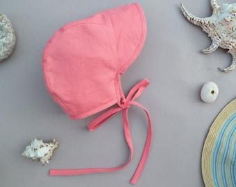 Baby girl/boy linen bonnet