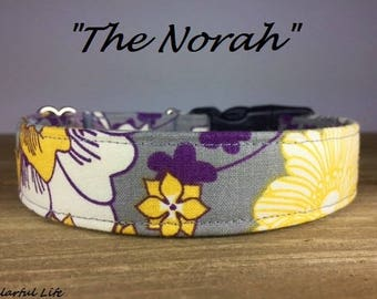 "Grey Yellow Purple Girly Floral Dog Collar - ""The Norah"""