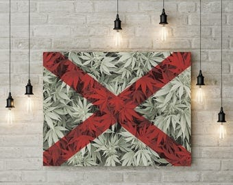 Weed Leaf Alabama Flag Canvas