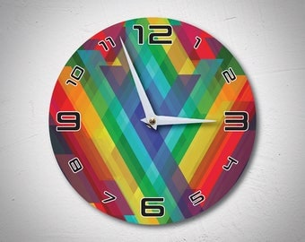 In the Rainbow Personalised Clock, Wood Clock, Large Wall Clock, Colourful Wall Clock, Modern Wall Clock, Home Decor, Handmade, MadMadeWorld