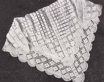 CROCHET Lacy Baby SHAWL / Blanket Pattern - Lacy - Special Occasion - HEIRLOOM - Christening