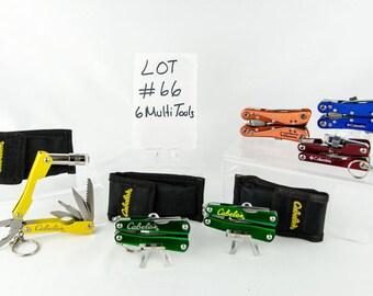 6 Multi Tool Lot # 66 Folding Knives 3 Cabela's 3 Columbia's