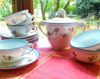 Very pretty blue and floral tea or coffee set - French porcelaine vintage set of 6 cups and saucers and sugar bowl