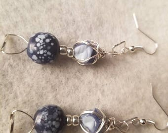 Lavender White and Silver Glass Beads Silver Wire Dangle Drop Handmade Earrings