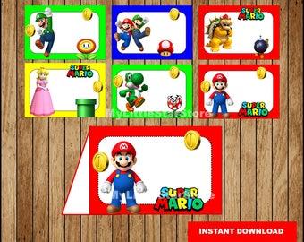 Mario Bros Food labels, Printable Mario Bros Food tent cards, Super Mario Bros party Food labels Instant download