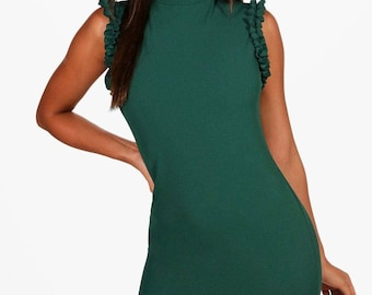 High neck ruffle detail dress - Armhole ruffle style dress