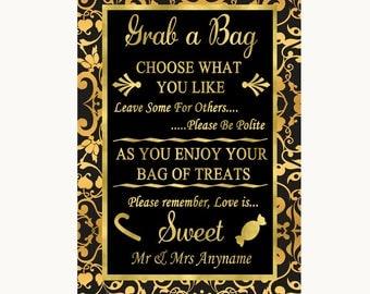 Black & Gold Damask Grab A Bag Candy Buffet Cart Sweets Wedding Sign
