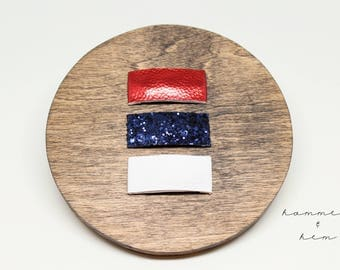 Red White and Blue Snap Clip Set