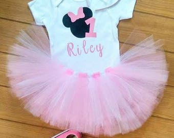 Little Girl's Minnie Mouse Birthday Outfit