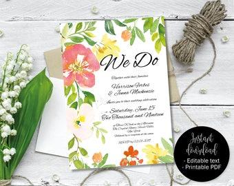 Printable Wedding Invitation Template, DIY Editable Wedding PDF Invitation Template, Rustic Watercolor Flowers Invitation, Border 8 INV-8