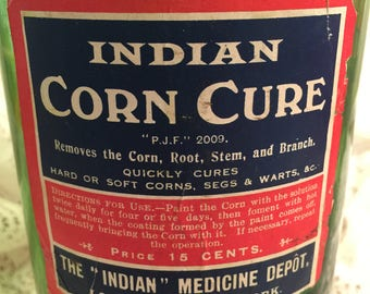 Indian Corn Cure green glass bottle - London and New York