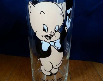 Porky Pig Looney Tunes Warner Bros inc, Pepsi Collectors  glass 1973