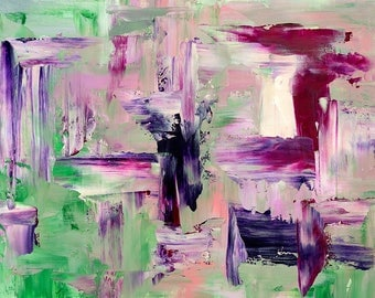 Abstract fine art print in green purple and pink #2