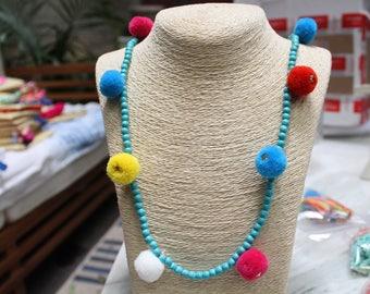 Blue Pom Pom Beaded Necklace, Boho Chic Jewelry