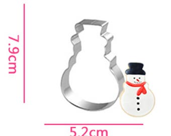 Christmas Snowman Cookie Cutter- Fondant Biscuit Mold - Pastry Baking Tool Set
