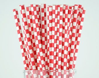 Red Checkered Paper Straws - Party Decor Supply - Cake Pop Sticks - Party Favor