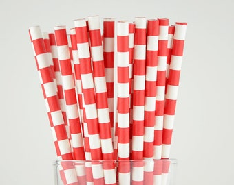 Red Circle Paper Straws - Mason Jar Straws - Party Decor Supply - Cake Pop Sticks - Party Favor