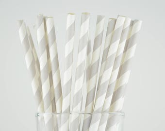 Light Grey Striped Paper Straws - Mason Jar Straws - Party Decor Supply - Cake Pop Sticks - Party Favor