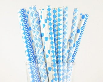 Blue Paper Straw Mix - Damask/ Hearts/ Polka Dots/ Chevron/ Diamond - Party Decor Supply - Cake Pop Sticks - Party Favor