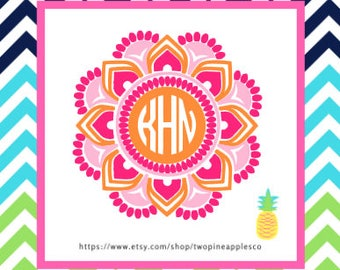 Three Color Mandala Monogram Sticker Decal, Car Decal