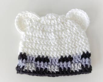 Crochet Polar Bear Hat - Crochet bear hat - Crochet Plaid Hat - Plaid Hat - Crochet Winter Hat - Warm Hat - Handmade Polar Bear Hat