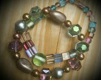 Colorful crystal bead bracelet set