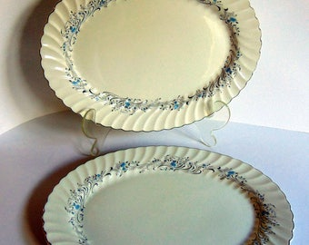 Rare 2 Large Snow White Regency Platters Johnson Brothers of England Matched Set