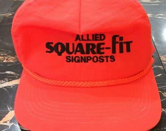 "Fluorescent Neon Orange ""Allied Square-Fit Signposts"" Snapback Trucker Cap Hat"