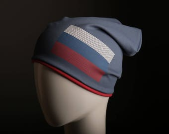 Russian flag on durable, warm beanie hat by Flagbrand