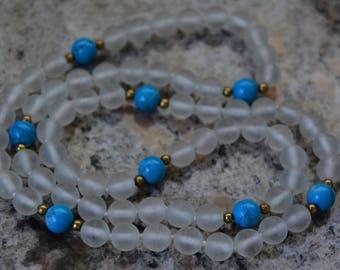 Glass Vintage Long necklace Boho Elegant Simple Blue White