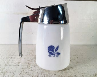Blue Morning Glory Patterned Santa Barbara Vintage Dispenser/Farmhouse Kitchen Vintage Syrup/Creamer Dispenser/Shabby Chic White Glass Dish