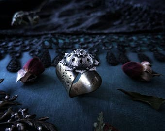 Sterling Silver and Brass Flower Ring
