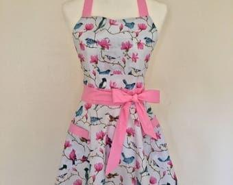 Vintage pink and blue birds apron and potholders set