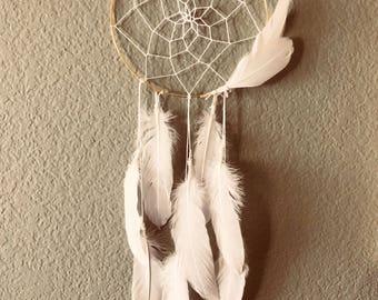 Angel wings dreamcatcher, dreamcatcher, white dreamcatcher, boho wall hanging, nursery wall hanging