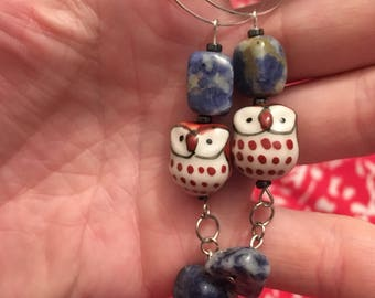 Sterling Owl and Sodalite Hoops