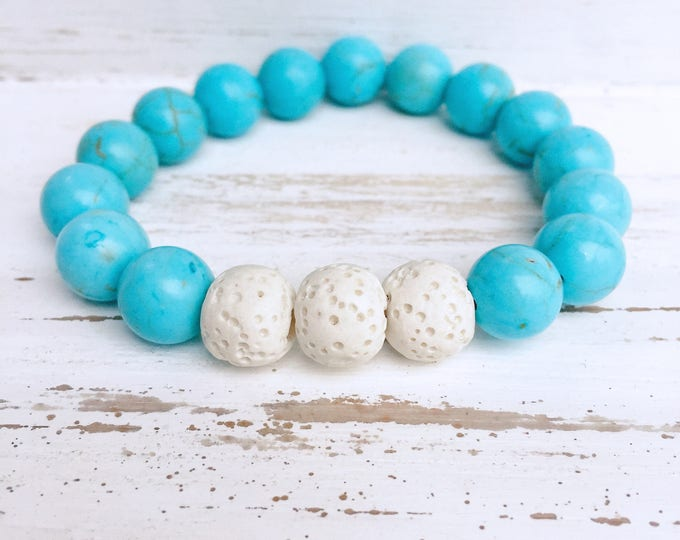 White Lava Rock and Blue Turquoise Beaded Diffuser Bracelet for Essential Oils