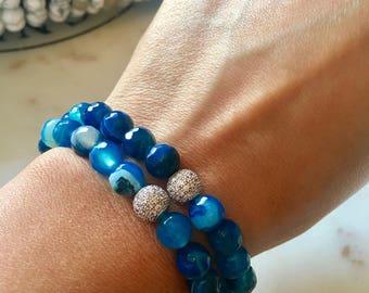 blue onyx beaded bracelet