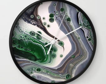 Wall Clock, Original Art Print Clock, Interior - Green Thunder. Custom Order, Pre Order
