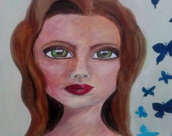 Butterfly Lady, Mixed Media Canvas Art